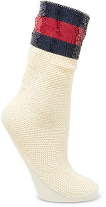 Striped Sequined Stretch-mesh Socks - Ivory
