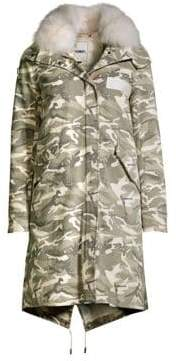 Yves Salomon Army by Army by Women's Camouflage Fox Fur-Trim Jacket - Camo - Size 32