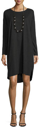 Eileen Fisher Long-Sleeve Hemp Twist Shift Dress $178 thestylecure.com