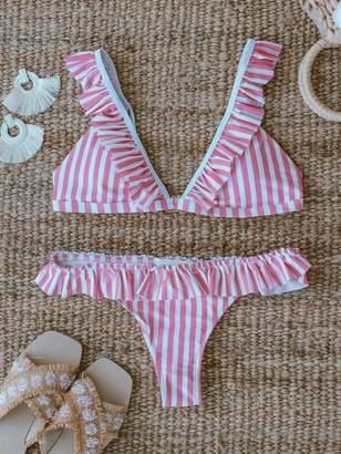 Goodnight Macaroon 'Adelia' Pink Striped Ruffle Bikini