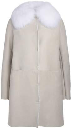 Salvatore Santoro Ivory Sheepskin And Fox Fur Long Coat