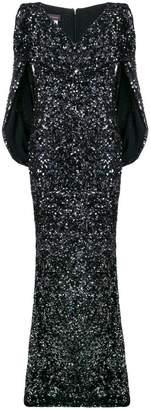Talbot Runhof sequined cape dress