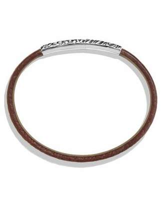 David Yurman Men's Alligator-Embossed Leather & Sterling Silver Bracelet, Brown $500 thestylecure.com