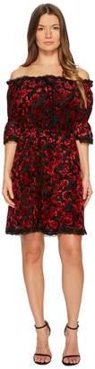 The Kooples Short Devore Silk Dress with Flowers Women's Dress