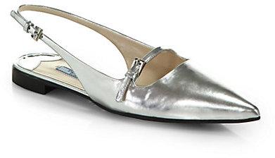 Prada Metallic Leather Point-Toe Slingback Flats