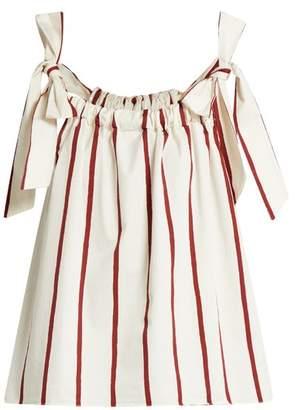 MiH Jeans Blake Striped Cotton Blend Top - Womens - Red Stripe
