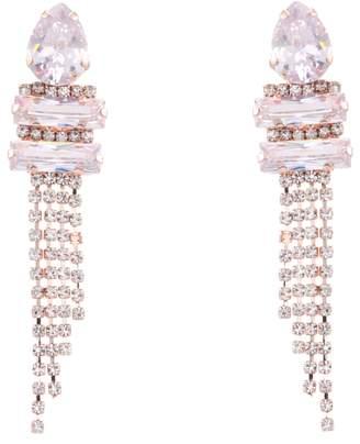 Nina Cup Chain Pave Fringe Earrings