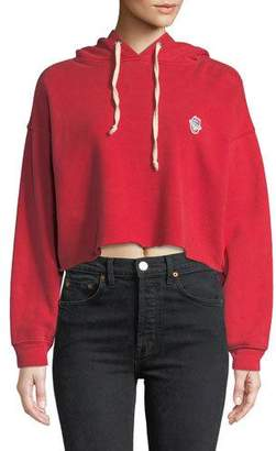 RE/DONE Cropped Raw-Edge Pullover Hoodie