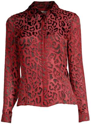 21a2caf73be82 Alice + Olivia Willa Placket Leopard Print Blouse
