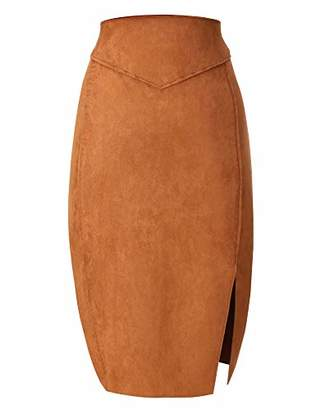 Bellivera Women's Faux Suede Pencil Skirt Hip Wrapped Back Split for Spring