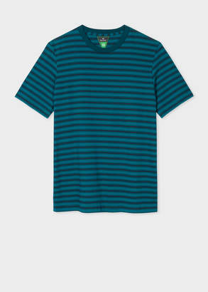 Paul Smith Men's Teal And Navy Stripe Organic-Cotton T-Shirt
