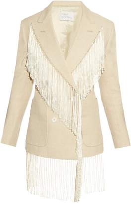 HILLIER BARTLEY Fringed double-breasted linen blazer