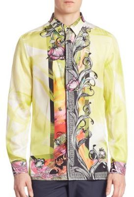 Versace Collection Camicia Trend Floral Printed Silk Shirt $625 thestylecure.com