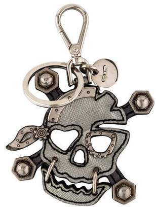 Prada Leather Skull Keychain