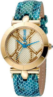 Just Cavalli 34mm Animal Devore Leather Watch, Blue