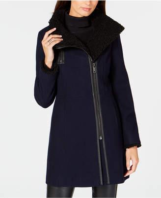 Calvin Klein Asymmetrical Faux-Shearling Coat