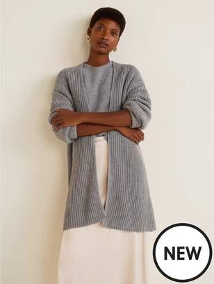 MANGO Rib Knit Cardigan - Grey