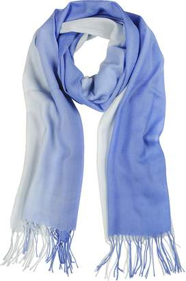 Mila Schon Gradient Blue/Light Blue Wool and Cashmere Stole