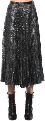 Marco De Vincenzo Sequined Pleated Midi Skirt