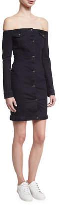 A.L.C. Mika Off-the-Shoulder Denim Mini Dress, Black