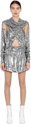 Filles a papa Sequined Crossed Mini Dress W/ Cutouts