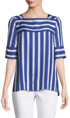 Escada Short-Sleeve Cabana-Striped Silk Blouse