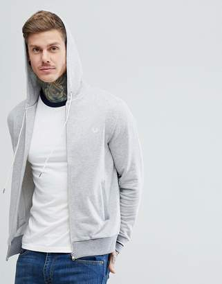 Fred Perry Hooded Sweat Jacket In Gray