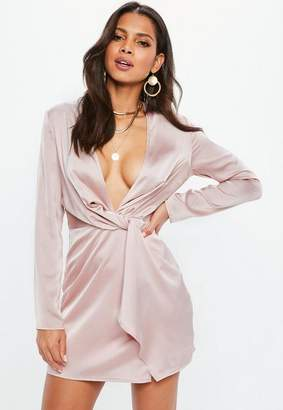 Missguided Pink Plunge Twist Front Long Sleeve Shift Dress