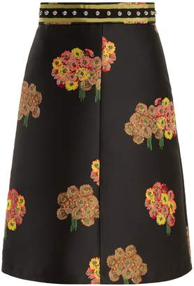 RED Valentino Floral-brocade A-line midi skirt