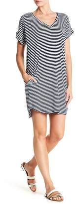 Allen Allen Striped V-Neck Pocket Dress
