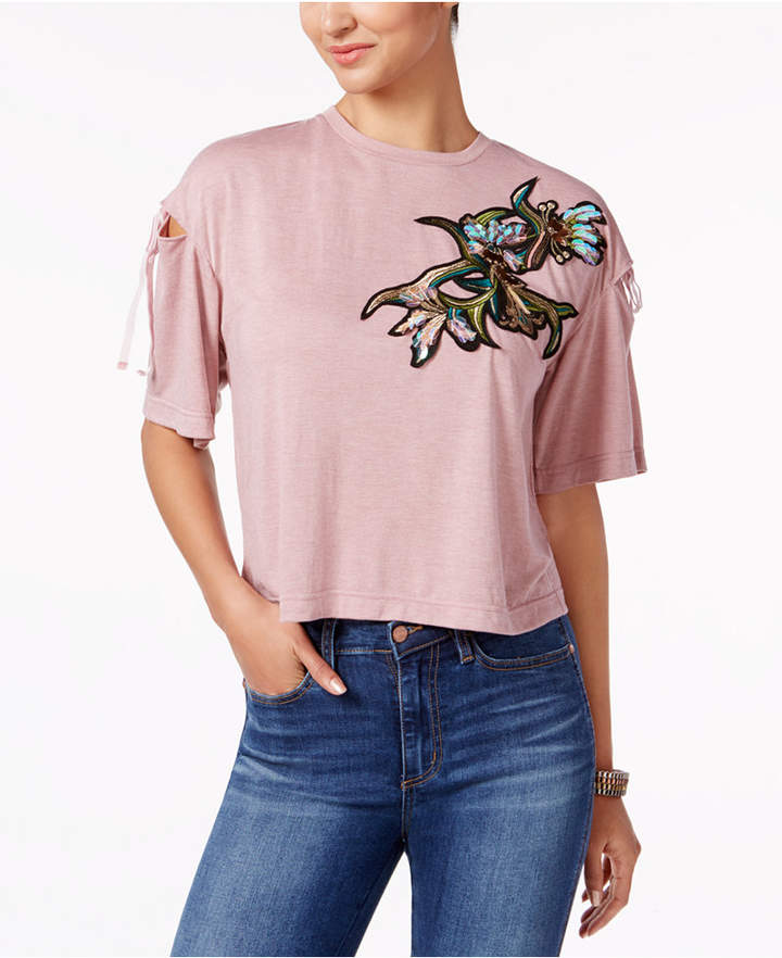 Buffalo David Bitton Cut-Out Shoulder Patched Top