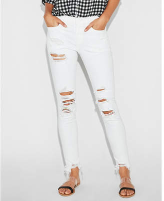 Express mid rise white distressed stretch jean ankle leggings