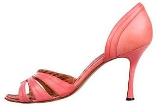 Manolo Blahnik Leather d'Orsay Sandals