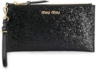 Miu Miu glitter logo clutch bag a7244526bcdeb