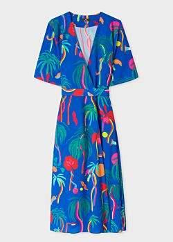 Women's Cobalt Blue 'Urban Jungle' Wrap Dress