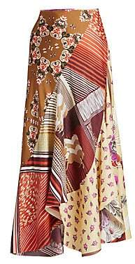Chloé Women's Patchwork Silk Ruffled Midi Skirt