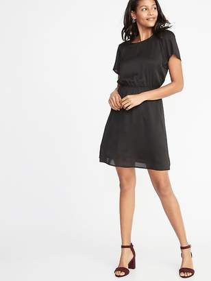 Old Navy Waist-Defined Smocked-Shoulder Dress for Women