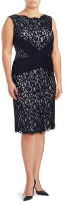 Tadashi Shoji Sleeveless Two-Tone Lace Dress