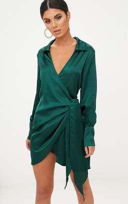 PrettyLittleThing Emerald Green Satin Deep Cuff Wrap Front Shift Dress