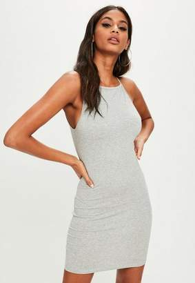 Missguided Gray 90s Neck Bodycon Dress