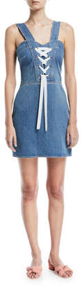 Paige Tule Lace-Up Sleeveless Denim Dress