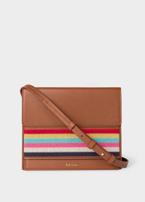 Paul Smith Women's Tan Leather Cross-Body Bag With Multi-Coloured Stripe Embroidered Detail