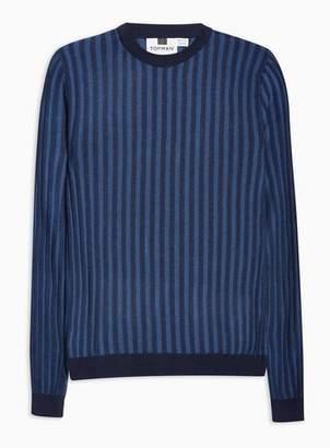Topman Mens Blue Long Sleeve Plaited Sweater
