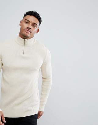Asos DESIGN turtleneck ribbed sweater with zip in oatmeal