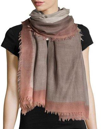 Salvatore Ferragamo Wool Colorblock Scarf, Gray/Peach $770 thestylecure.com