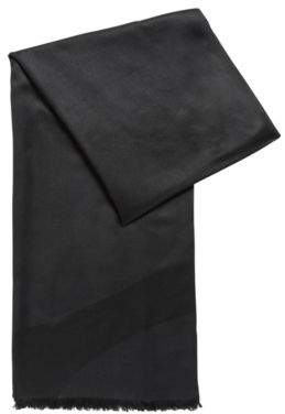BOSS Hugo Graphic-jacquard scarf in silk wool One Size Black