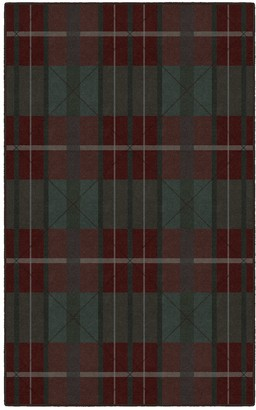 Brumlow Mills Burgundy & Green Traditional Plaid Rug