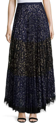 Saloni Karen Pleated Lace Maxi Skirt, Navy