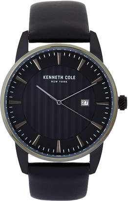 Kenneth Cole New York KC15204005 Black Dial & Leather Strap Watch