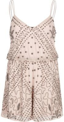 River IslandRiver Island Womens Pink nude embellished cami playsuit